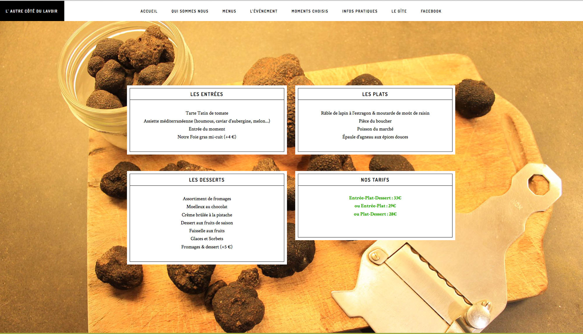 Page intérieure du site internet