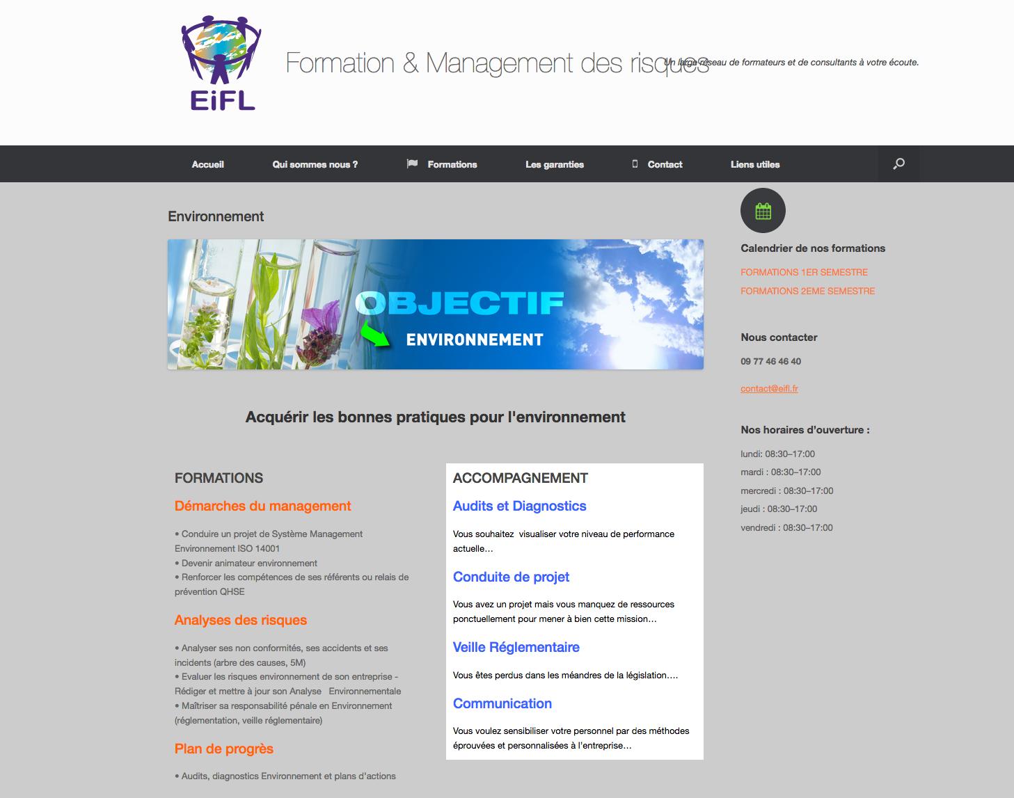 Site web EiFL environnement